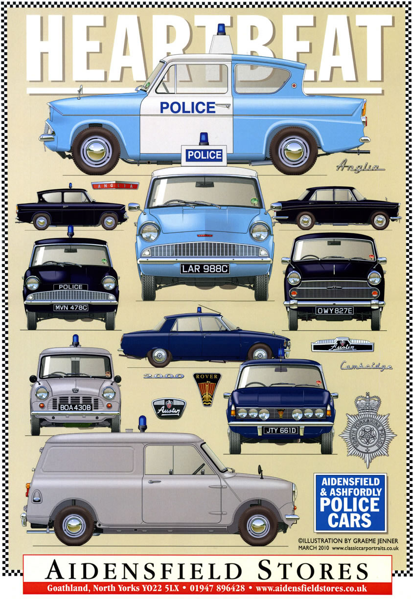 Heartbeat Police Cars poster on sale at Aidensfield Stores