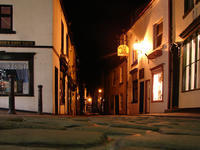 Whitby street at night